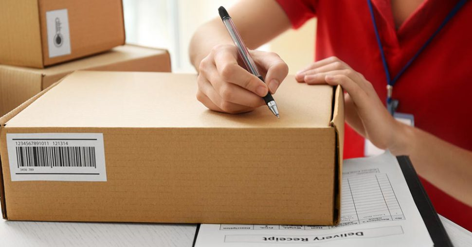 courier handling package for courier delivery